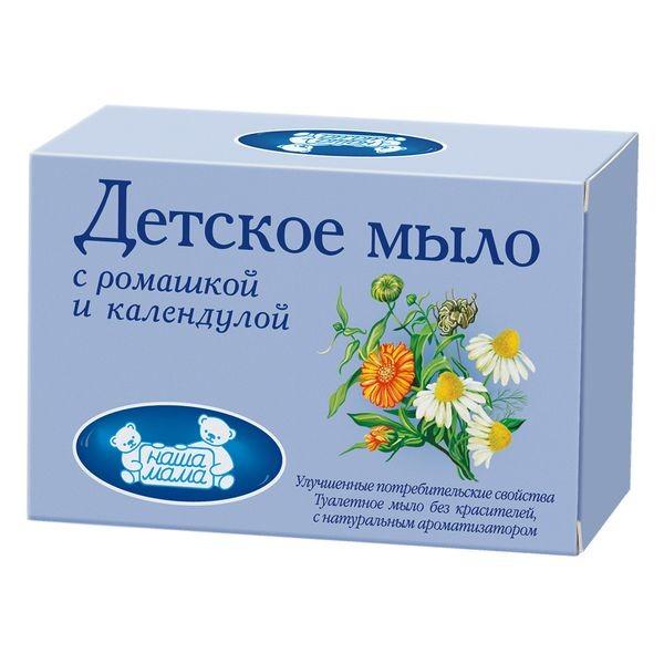Купить Наша мама мыло детское с экстрактами календулы и ромашки 90г
