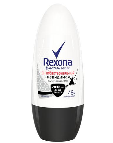 Купить Rexona Антиперспирант део-ролик женский Антибактериальная и Невидимая на черном и белом 50мл