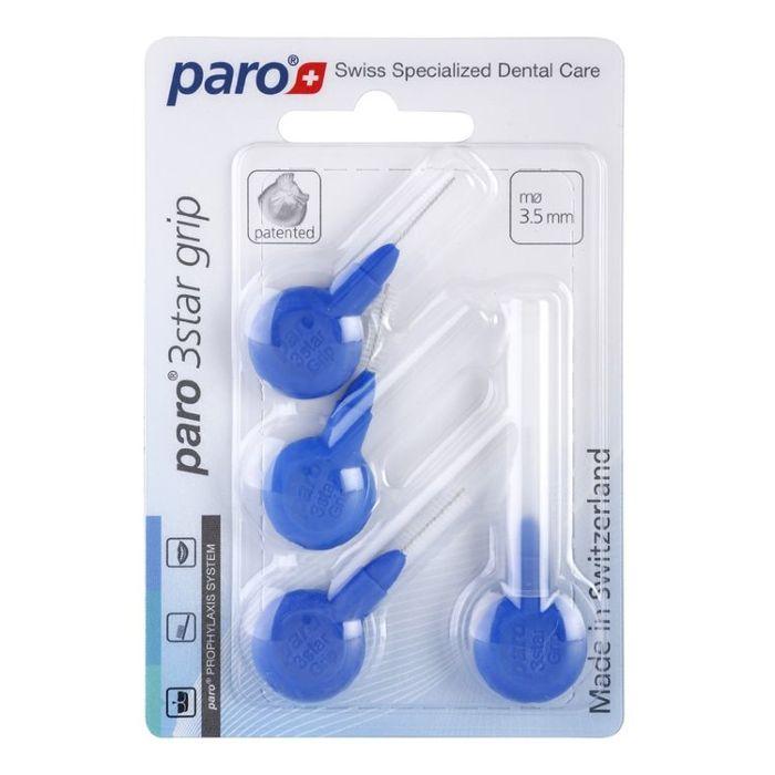 Paro 3Star-Grip Ершики треугольной формы, мягкие, диаметр 3,5 мм, синие, 4 шт.