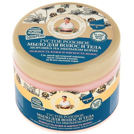 Купить Рецепты Бабушки Агафьи Мыло для волос и тела морошка на мыльном корне густое розовое 300мл, Рецепты бабушки Агафьи