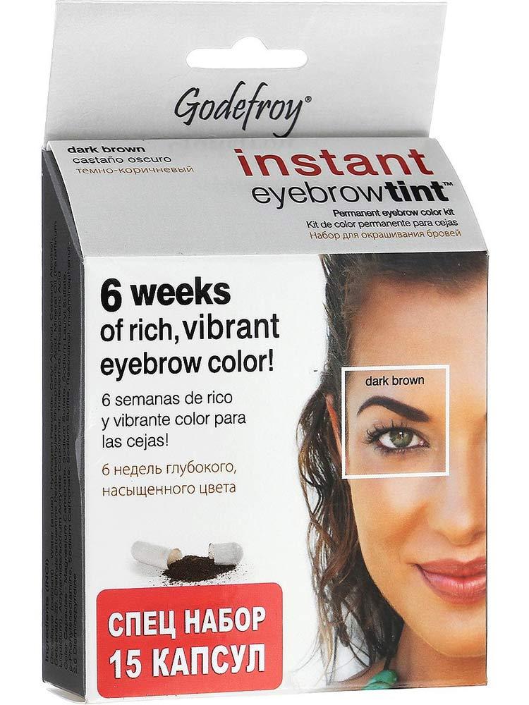 Купить Godefroy Eyebrow Tint Dark Brown Краска-хна в капсулах для бровей набор 15 капсул темно-коричневый