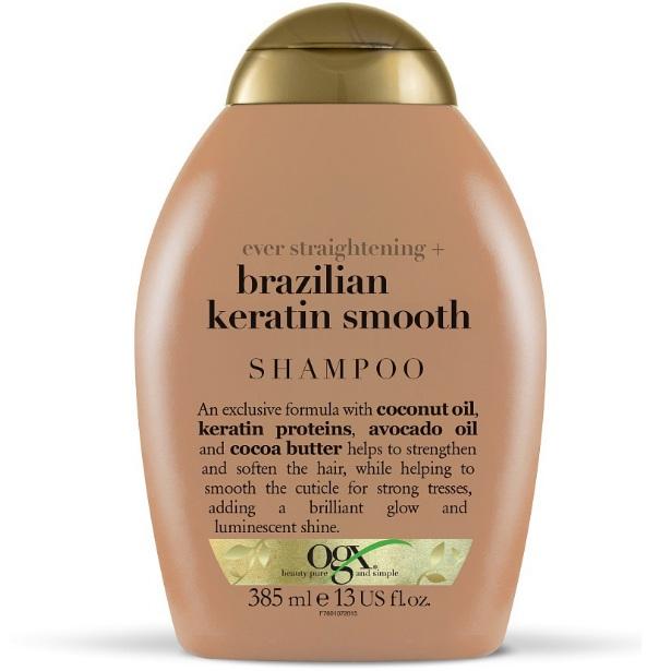 OGX Шампунь Разглаживающий для укрепления волос Бразильский кератин 385 мл
