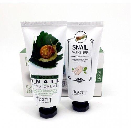 Купить Jigott Real Moisture набор крем для рук с экстрактом слизи улитки 100мл+ крем для ног с экстрактом слизи улитки 100мл