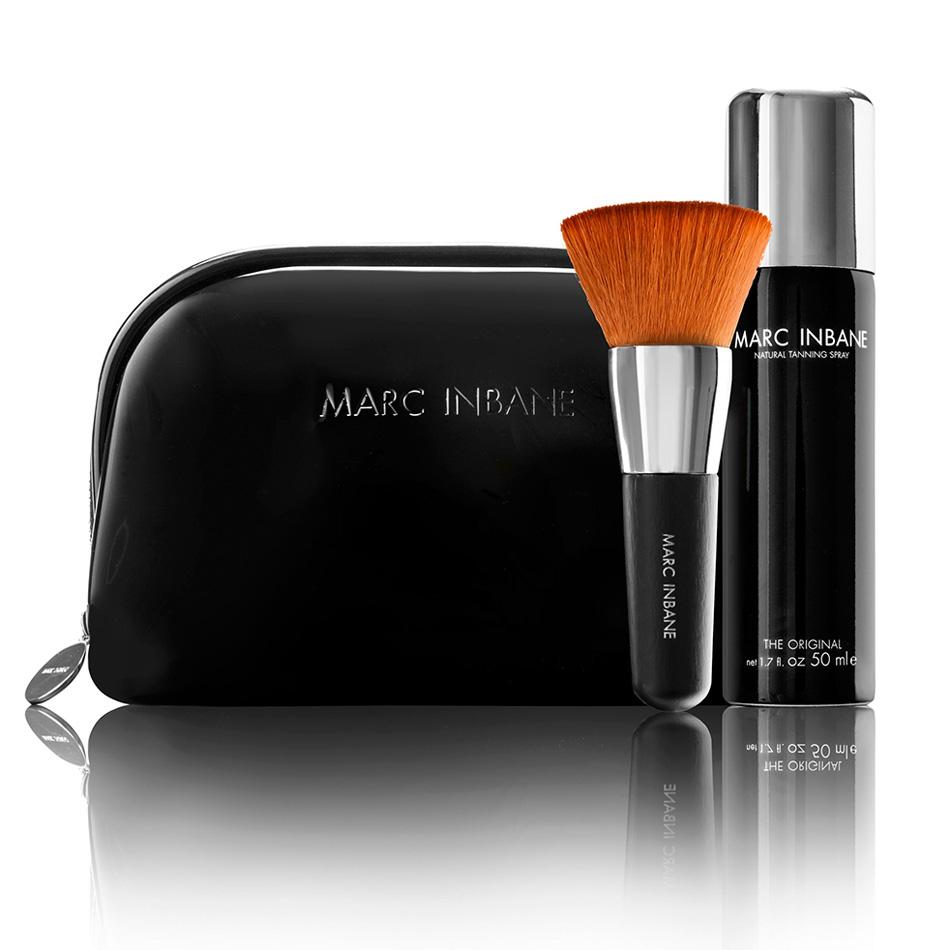 Marc Inbane Дорожный набор Спрей-автозагар 50 мл + Кисть «кабуки» для равномерного нанесения макияжа и автозагара 10 см в лаковой косметичке