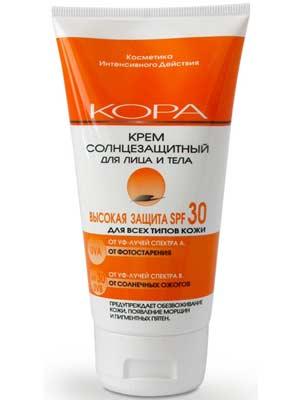 Купить Кора Крем солнцезащитный SPF 30 для лица и тела 150 мл