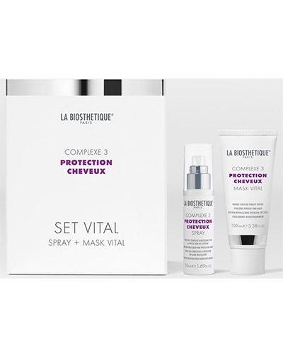 Купить Ла Биостетик Power Set Vital Complexe 3 Витализирующий дует с мощным молекулярным комплексом защиты волос спрей 50 мл +маска 100мл LB120538, La Biosthetique