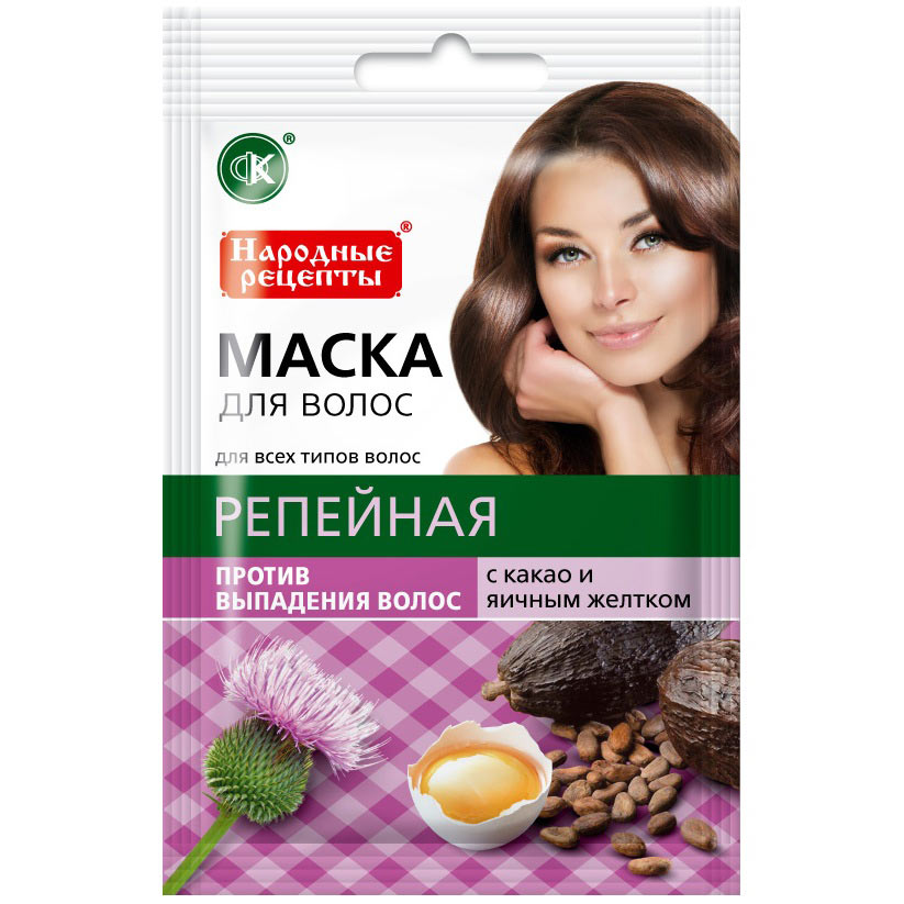 Купить Фитокосметик Народные рецепты Маска для волос Репейная с какао и яичным желтком против выпадения 30мл