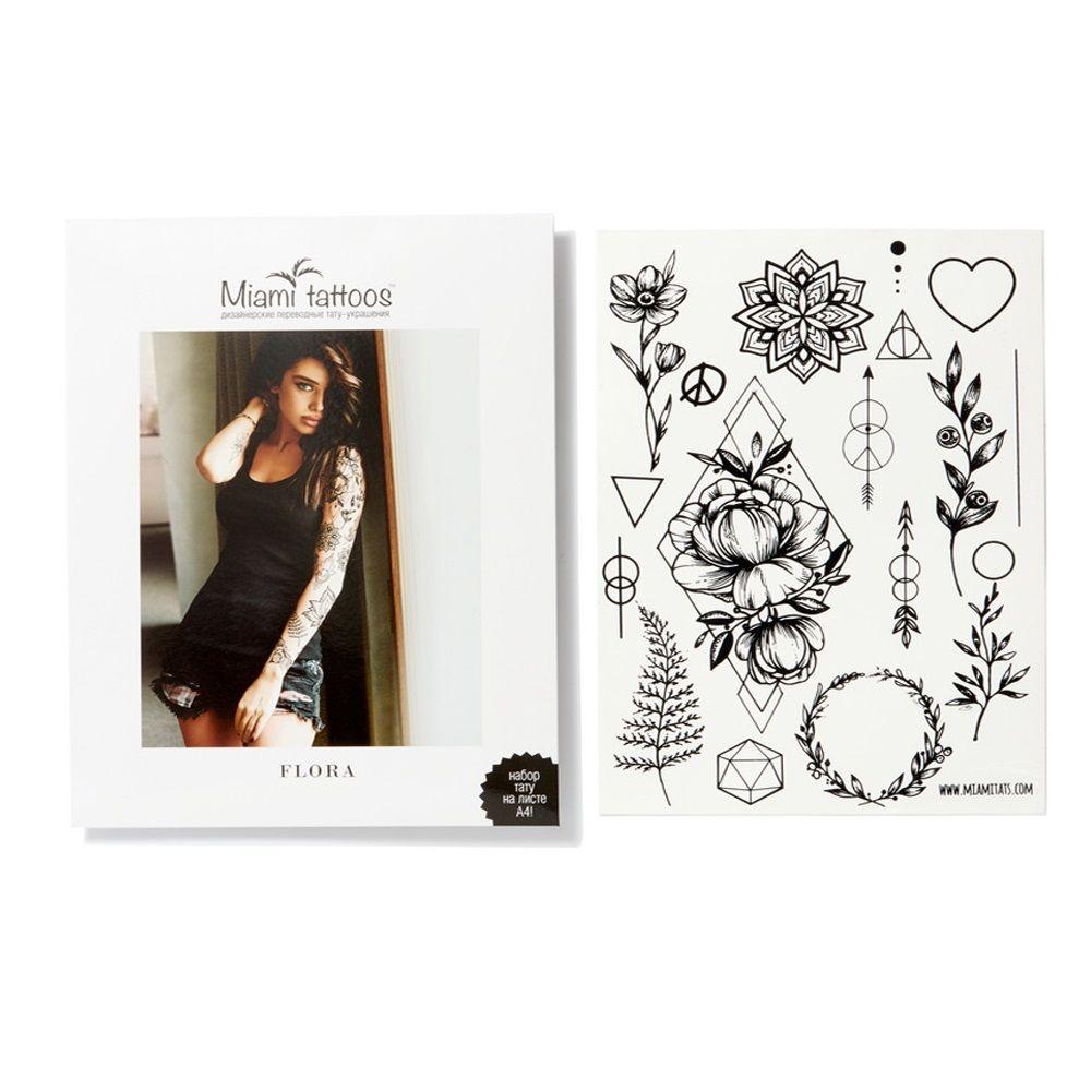 Купить Miami Tattoos Переводные тату Flora by SashaTattooing Studio Black Tattoo