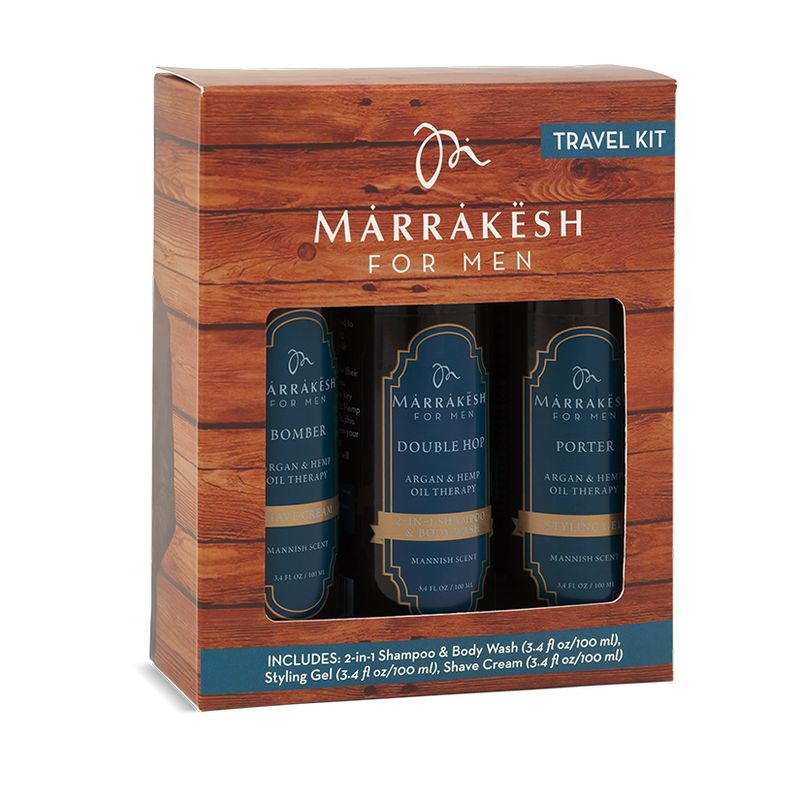 Купить Marrakesh for Men Travel Kit набор для мужчин: шампунь 2в1, крем для бритья 100мл, стайлинг-гель 100мл