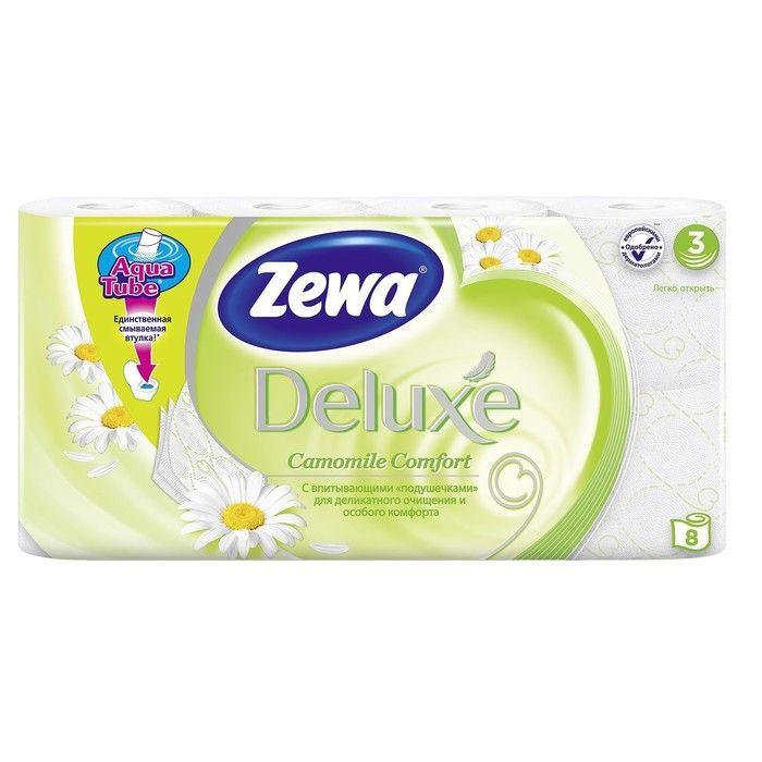 Зева/Zewa Бумага туалетная Делюкс трехслойная с ароматом Ромашки 8шт