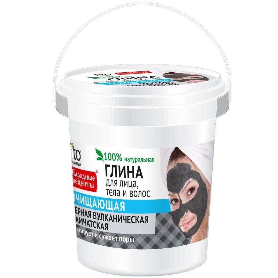 Фитокосметик Народные рецепты глина для лица/тела/волос черная вулканическая камчатская очищающая 155мл