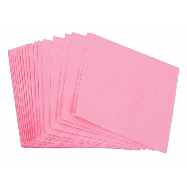 Салфетки бумажные однослойные однотонные розовые 12х12см 50шт