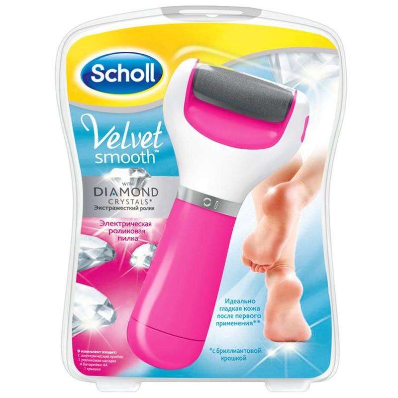 Scholl Электрическая роликовая пилка с роликом из бриллиантовой крошки (экстра жесткая) розовая