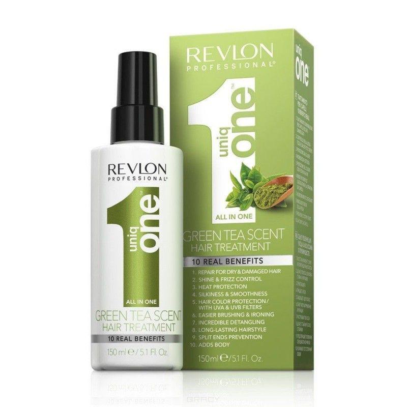 Revlon Uniq one HAIR GREEN TEA TREATMENT Спрей-маска для ухода за волосами с ароматом зеленого чая 150мл