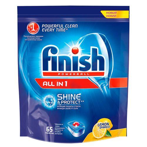 Finish All in1 Shine&Protect Средство для мытья посуды в посудомоечных машинах Лимон 65шт от Лаборатория Здоровья и Красоты