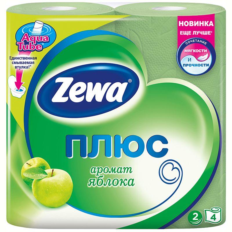 Зева/Zewa Бумага туалетная Плюс двухслойная с ароматом яблока 4шт