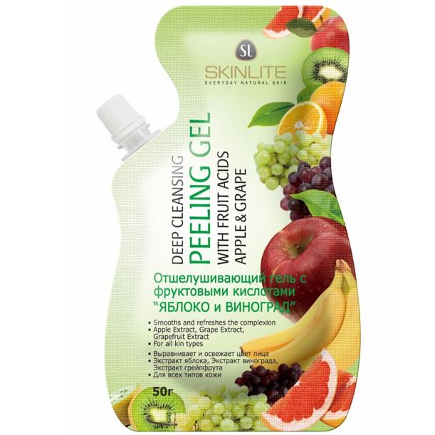 Skinlite гель-пилинг отшелушивающий с фруктовыми кислотами яблоко и виноград 50 гр