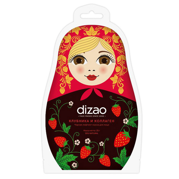Купить Dizao Клубника и коллаген черная лифтинг-маска для лица Лифтинг Увлажнение Очищение 25г N1