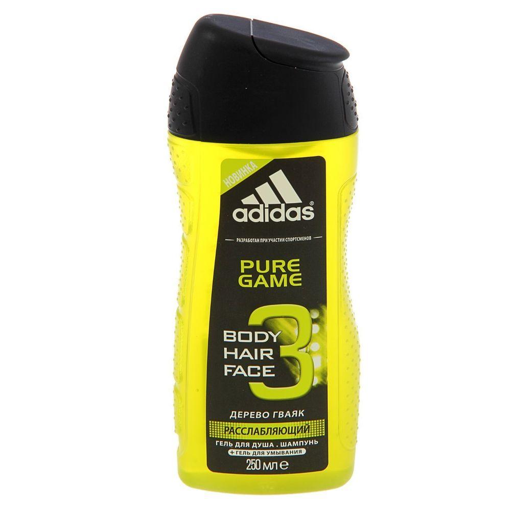 Adidas Body-Hair-Face Pure Game гель для душа, шампунь и гель для умывания для мужчин 250 мл от Лаборатория Здоровья и Красоты