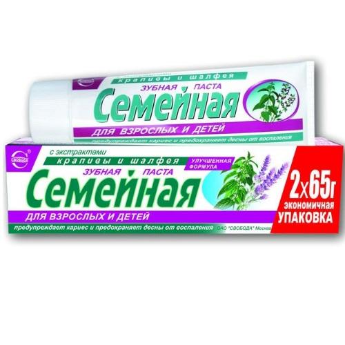 Купить Зубная паста Семейная с экстрактом крапивы и шалфея 130гр. Свобода