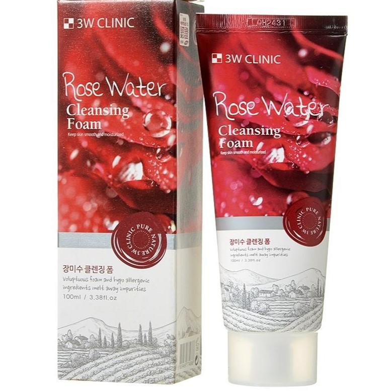 Купить 3W Clinic Пенка для умывания натуральная Розовая вода Rose Water Foam Cleansing 100мл