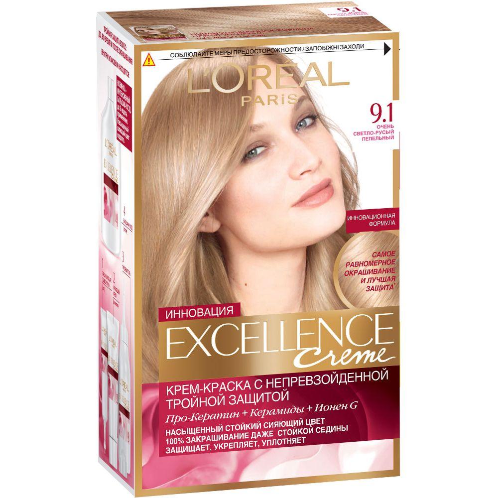 Купить Loreal Paris EXCELLENCE Краска для волос тон 9.1 Очень светло-русый пепельный