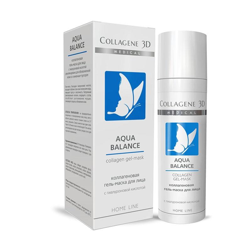 Купить Коллаген 3Д AQUA BALANCE Гель-маска для лица с гиалуроновой кислотой, восстановление тургора и эластичности кожи, Collagene 3D