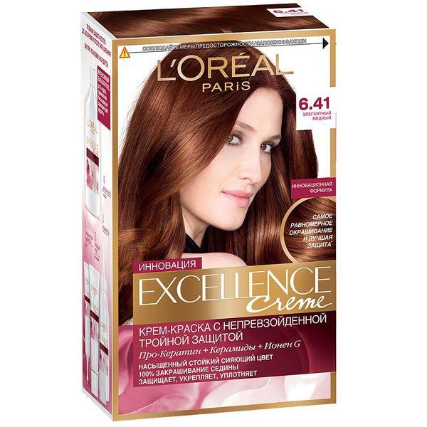 Купить Loreal EXCELLENCE краска для волос тон 6.41 медный тёмно-русый, Loreal Paris
