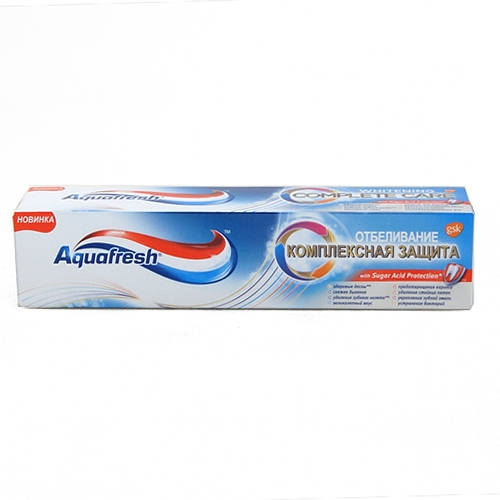 Аквафреш зубная паста комплексная защита отбеливание 100мл