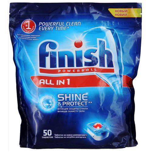 Finish Shine&Protect All in1 Средство для мытья посуды в посудомоечных машинах таблетки 50шт от Лаборатория Здоровья и Красоты