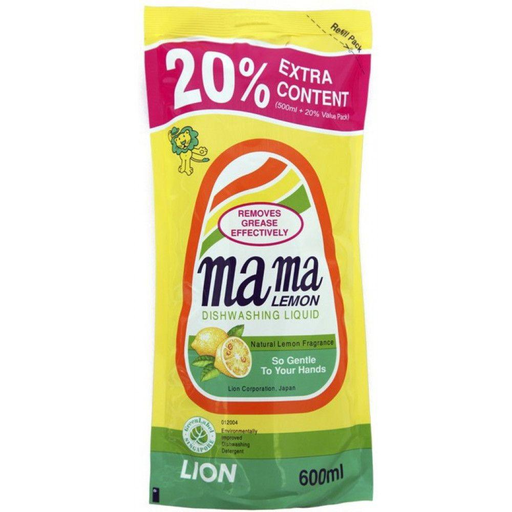 Купить Lion Mama Lemon Natural Lemon Fragrance Лимон Гель для мытья посуды 600мл запасной блок
