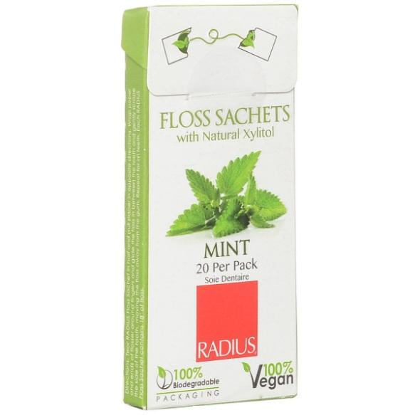 Радиус (Radius) Floss Sachets Vegan Xylitol Mint нить зубная со вкусом мяты 20 шт.