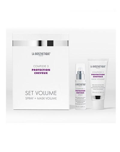 Купить Ла Биостетик Power Set Volume Complexe 3 Стабилизирующий дует с мощным молекулярным комплексом защиты волос спрей +маска 50 мл +100мл LB120674, La Biosthetique