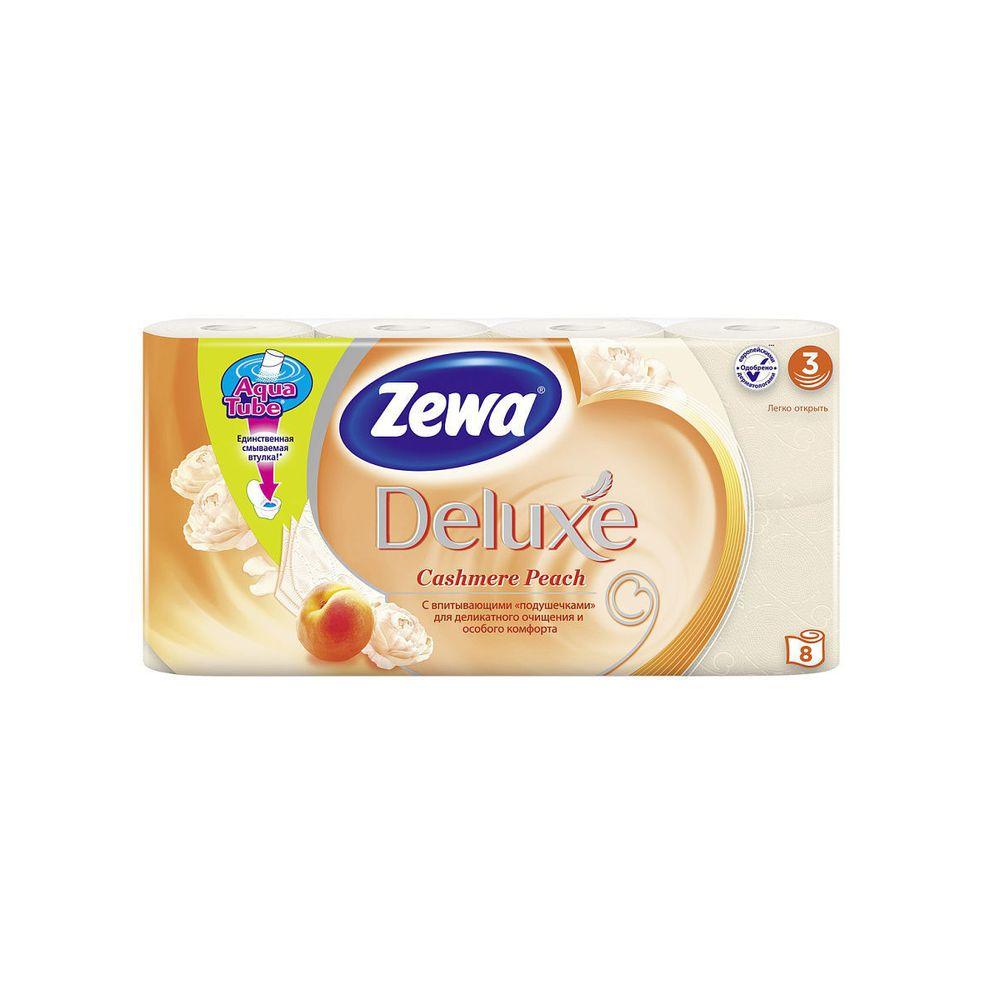 Зева/Zewa Бумага туалетная Делюкс трехслойная с ароматом персика 8шт