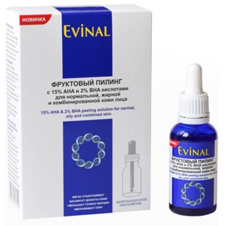 Купить Эвиналь пилинг фруктовый с 15% aha и 2% bha кислотами для нормальной, жирной и комбинированной кожи лица 30мл, Evinal