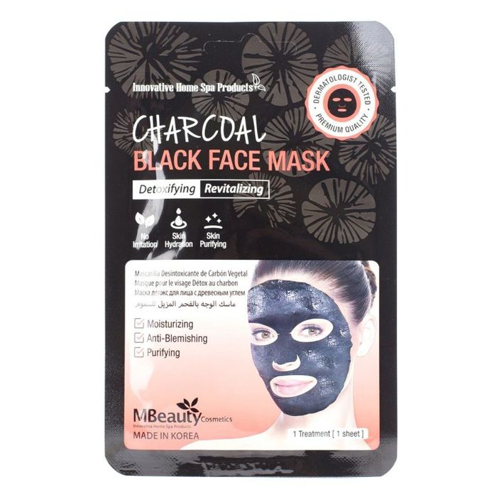 Купить MBeauty Восстанавливающая тканевая детокс-маска для лица с древесным углем 23мл