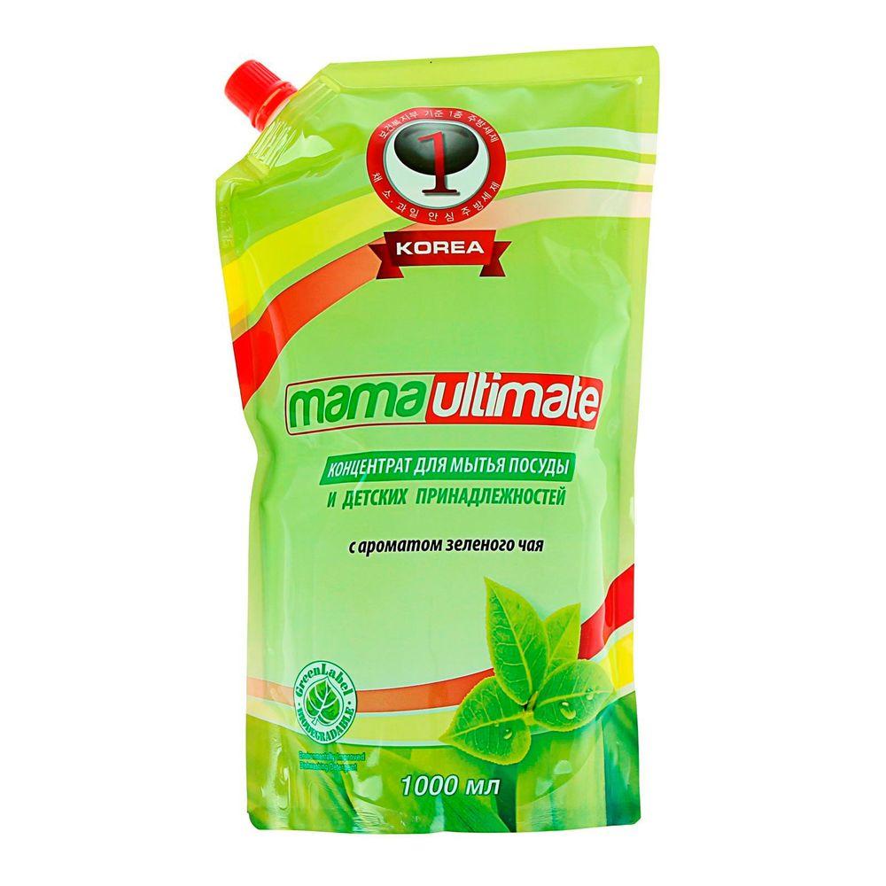 Купить Mama Ultimate Зеленый чай Концентрат для мытья посуды 1000мл запасной блок