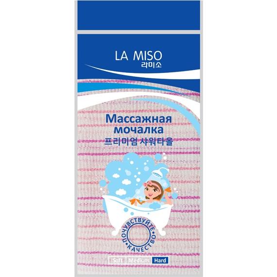 La Miso Массажная мочалка розовая жесткая