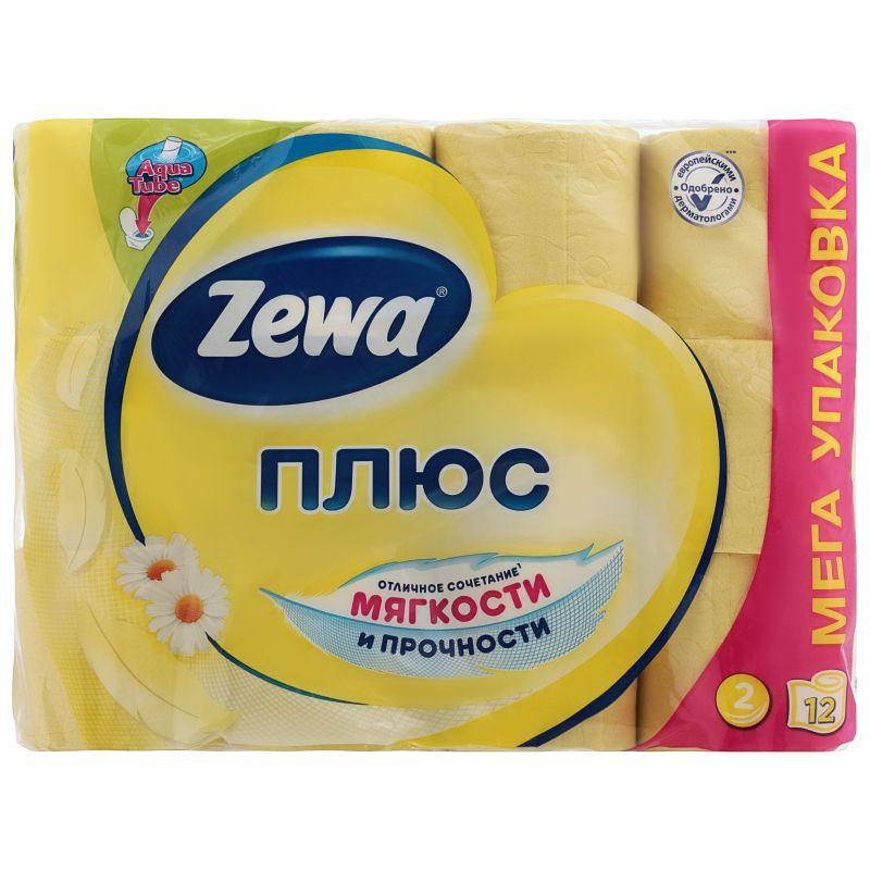 Зева/Zewa Бумага туалетная Плюс двухслойная с ароматом ромашки 12шт