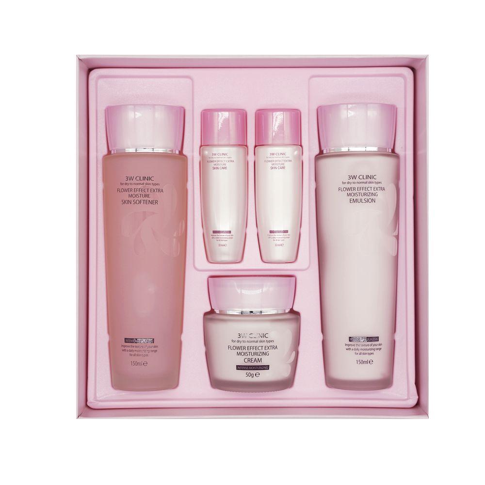 3W Clinic Увлажнение Набор для лица Flower effect extra moisturizing 3 kit set  - Купить