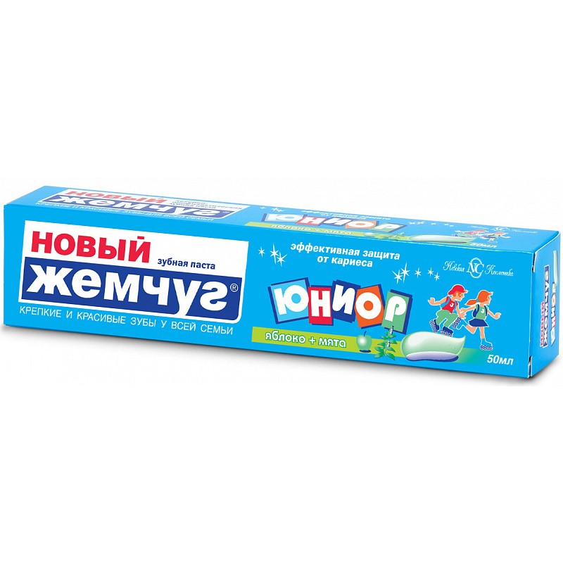 Новый жемчуг Зубная паста Юниор Яблоко + мята 50мл