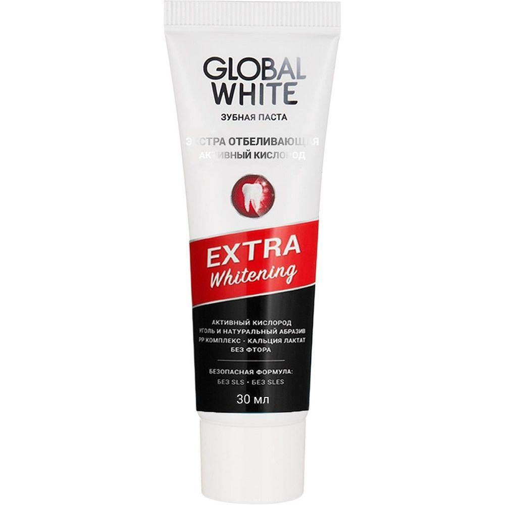 GLOBAL WHITE Зубная паста Экстра отбеливающая активный кислород 30 мл