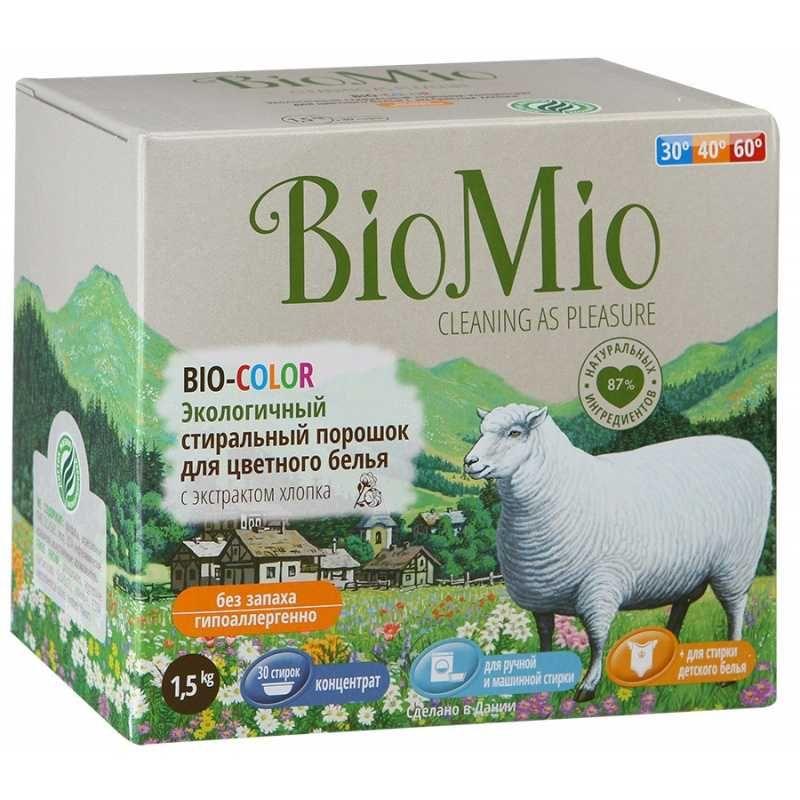 Купить BIOMIO BIO-COLOR концентрированный стиральный порошок без запаха с экстрактом хлопка для цветного белья 1, 5кг