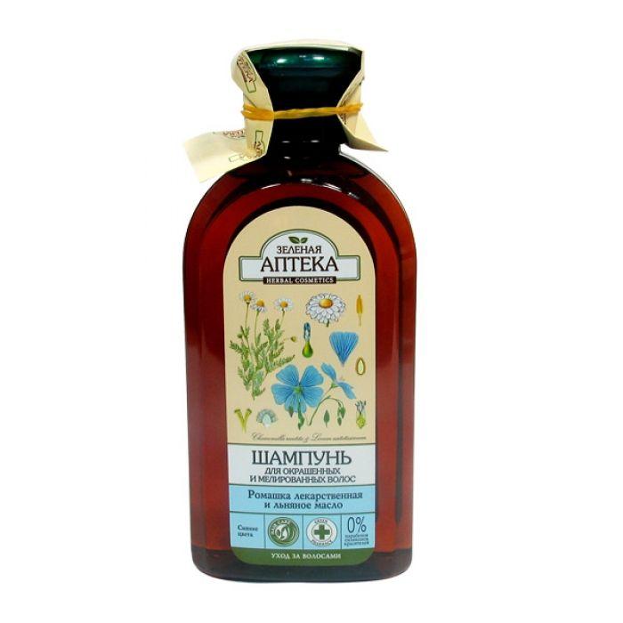 Купить Зеленая аптека шампунь Ромашка/льняное масло для окрашенных волос 350 мл