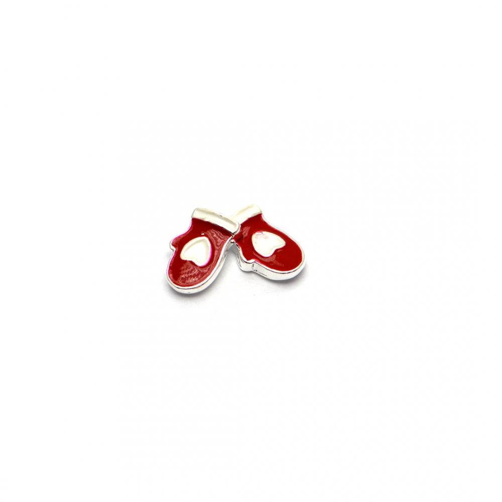 Tnl металлическая фурнитура - варежки красные 2 шт