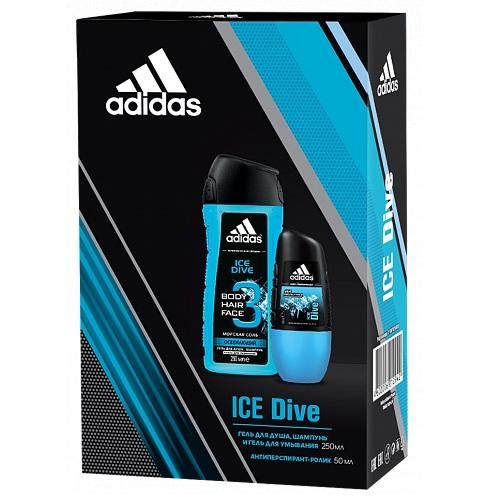 Адидас (Adidas) Ice dive набор для мужчин антиперспирант ролик 50мл + гель для душа 250мл