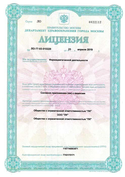 Лицензия 010229